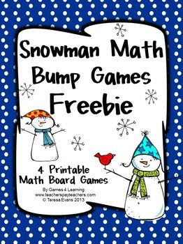 Snowman Math Bump Games FREEBIE from Games 4 Learning gives you 4 Snowman Math Board Games that are perfect for winter math fun!