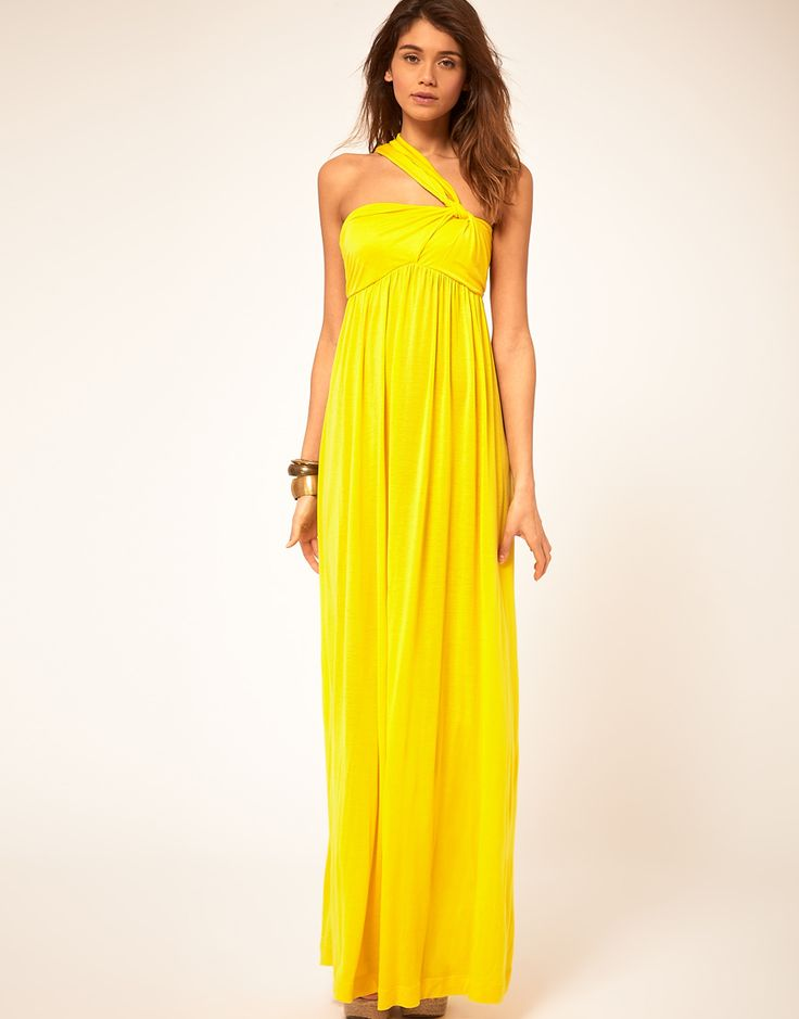 yellow gown: Islands Dresses, Yellow Gowns, Maxi Dresses, Yellow Dresses, Yellow Maxi, Sixty Maxi, Asos Dresses, Asymmetrical Strapsjersey, Boom Colors