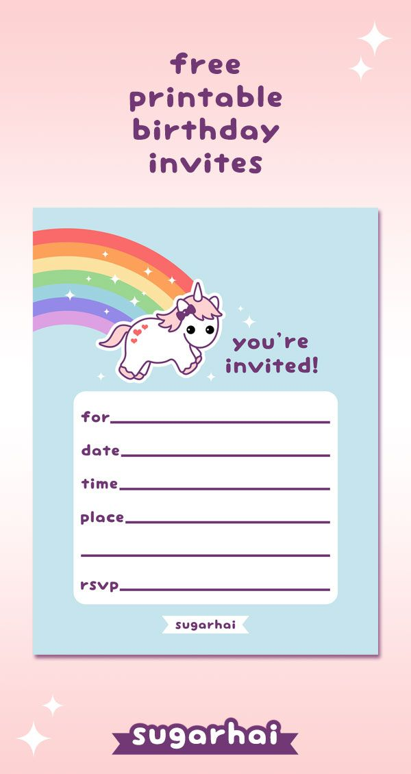 Free printable birthday party invitations with super cute pink and purple rainbow unicorn.