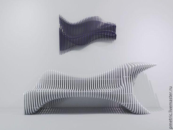 Купить parametric bench - белый, параметрическая скамья, параметрика, parametric, фанера