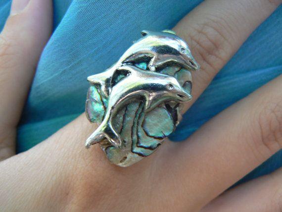 dolphin abalone ring dolphins abalone nautical boho gypsy cruise wear beach resort wear  high fashion gypsy hipster