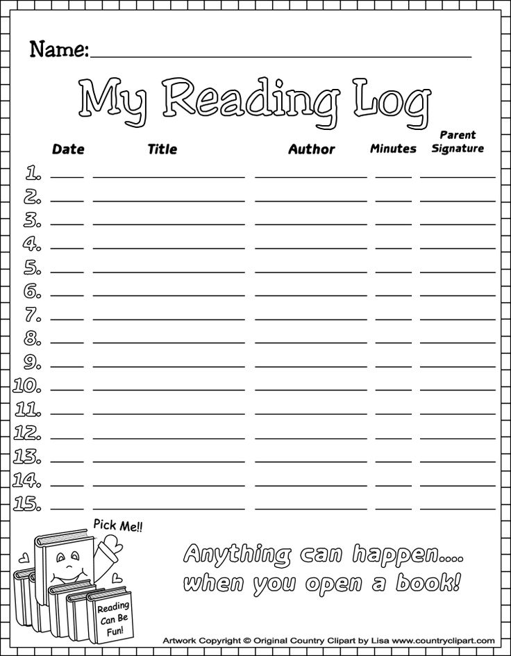 Reading Log printable #reading #early readers #reading program