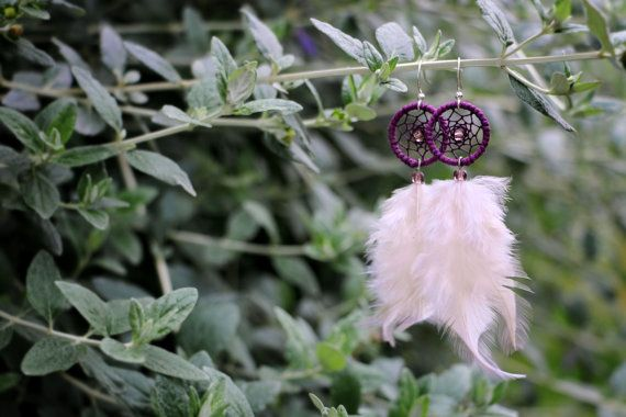 Deep Purple and White Dream Catcher Earrings by nZuriArtDesigns