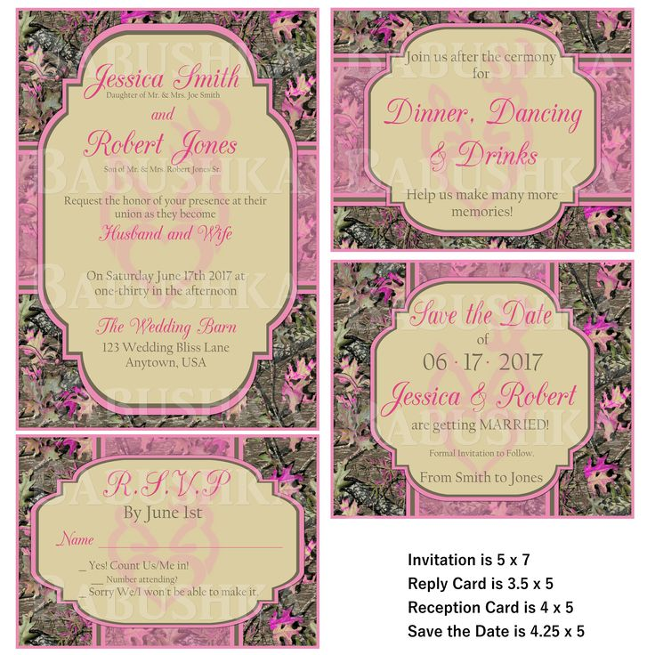 Pink and Purple Camo Wedding Invitation with Reply card/ Camo and Pink Country themed wedding Invitation set by BabushkasPrintables on Etsy