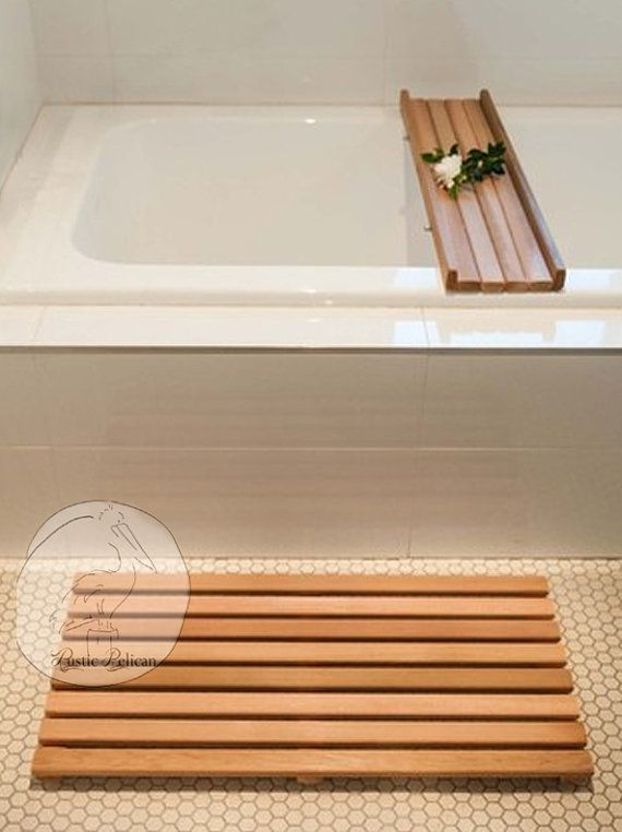 Wooden Timber Bath Mat Large And Caddy