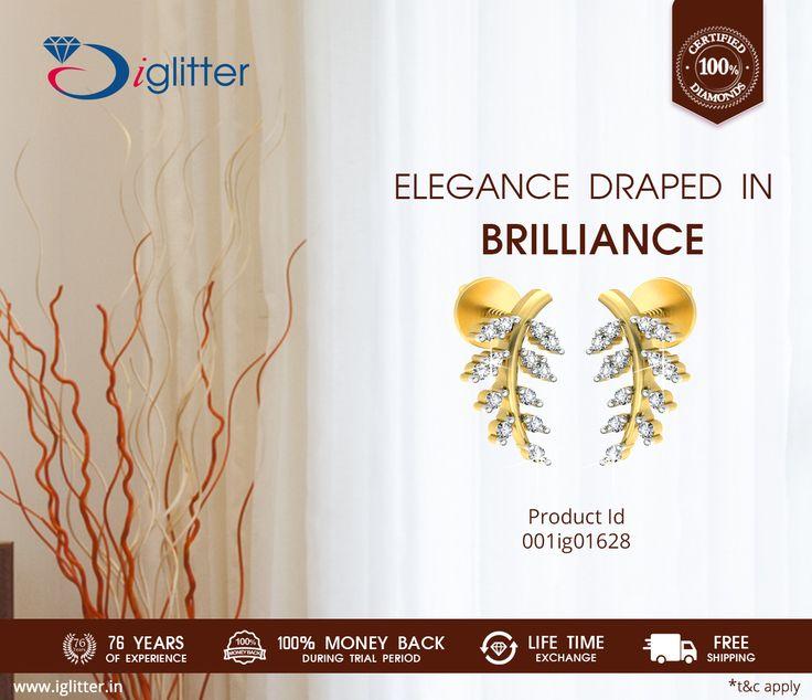 Elegance Draped in Brilliance ♥ Shop Now : http://bit.ly/1Lhd9NA  #iGlitterindia #Diamonds #Jewellery #Earring