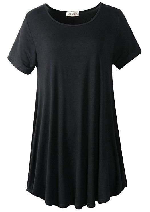 ce35d3745e8 Crew Neck Short Sleeves Flare Tunic Blouse | FLARE SHIRTS VINTAGE ...