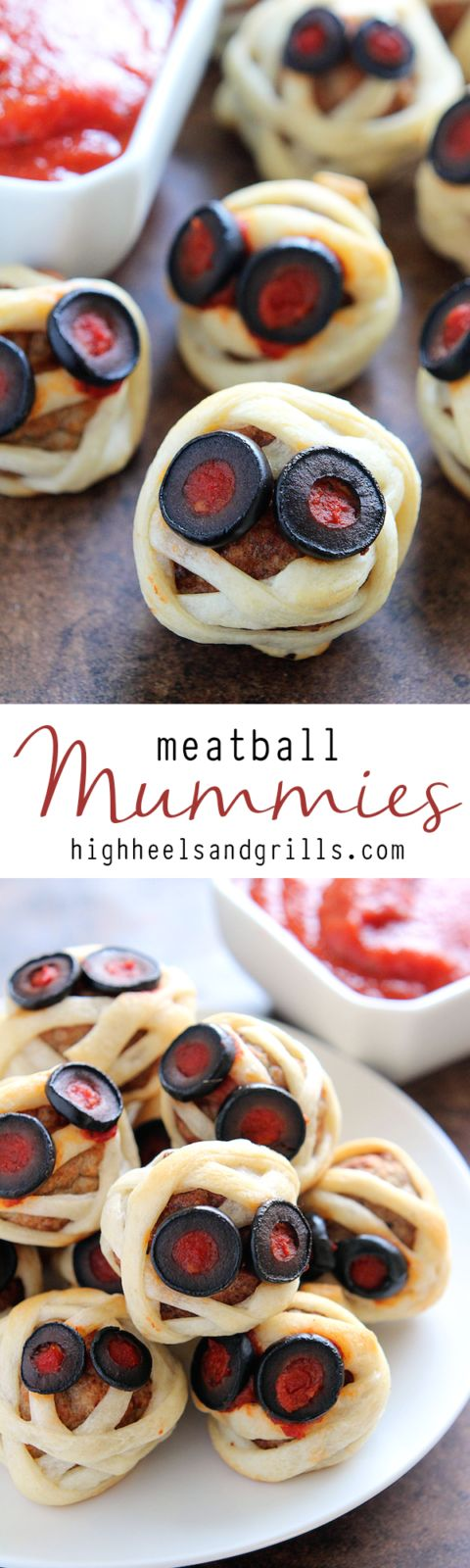 These Meatball Mummies are a fun, easy, and delicious Halloween finger food idea. They are store-bought meatballs, wrapped in crescent down, and topped with marinara and olives.