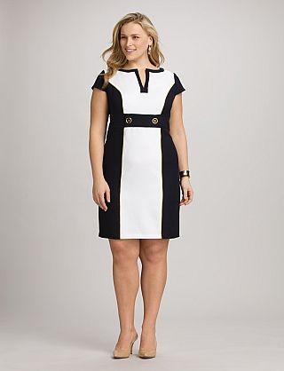 Plus Size Colorblock Tab-Waist Dress   Dressbarn