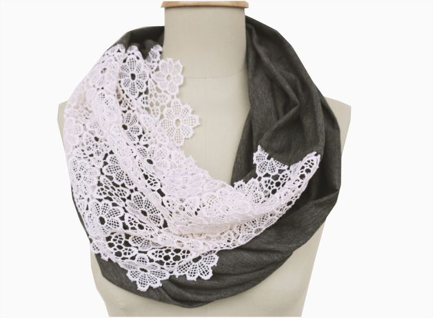 More - loop lace and jersey dark gray - a designer piece of StAnderswo on DaWanda