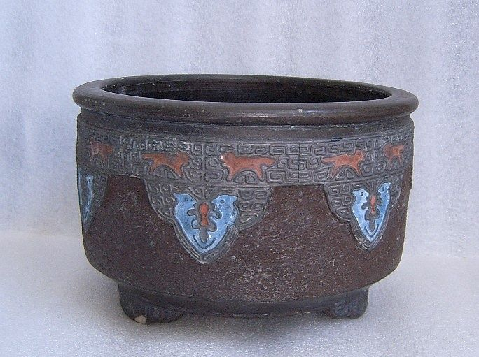 NIPPON POTTERY HAND PAINTED FOOTED FERNER PLANTER CLOISONNE INSPIRED Motif!