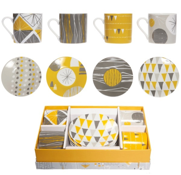 Cute yellow and gray dishes. I love the spotted ones.