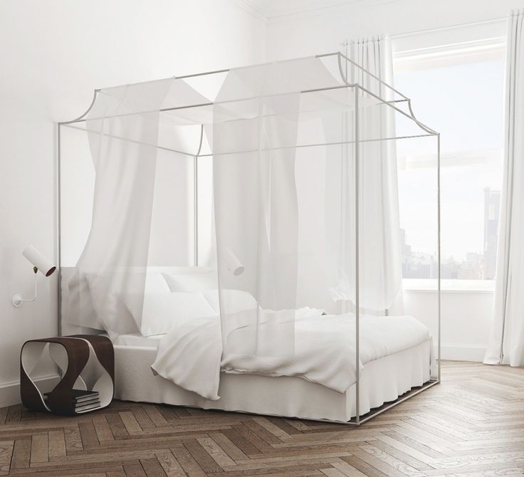 white bedroom canopy bed barcelona apartment tour