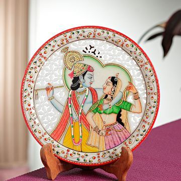 Aapno Rajasthan Carved Marble Plate With Radha Krishna