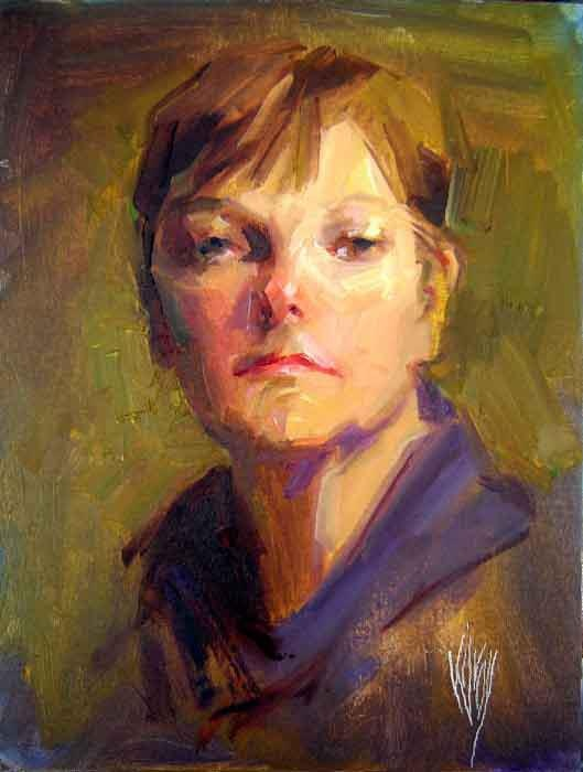 """Portrait of my wife, Adele Kilroy"" 14"" x 11"" oil by John Kilroy"