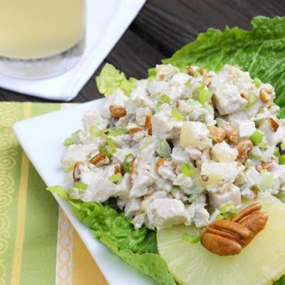 PINEAPPLE-PECAN CHICKEN SALAD. sounds so yummy and health  . change mayo to greek yogurt. maybe change up the pineapple to grapes sometime