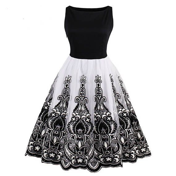 women vintage 1950s style dress floral print white party dress black elegant female vintage sexy dress 2017 new dresses