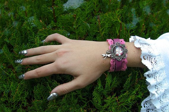 LOLITA BRACELET pink bridal cuff wedding spring by DarkDesireStore