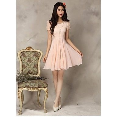 Women's Fashion Lace Chiffon Dress - USD $ 20.99