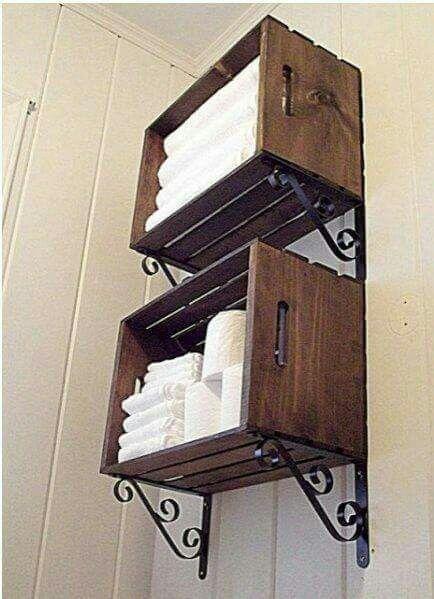 Organizador Cajones Baño:Organizador de baño con cajas de fruta