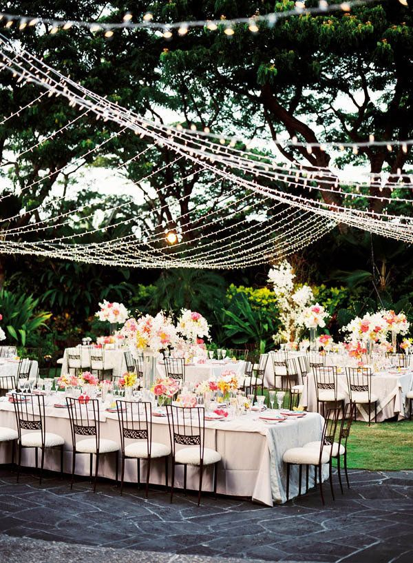 canopy of #lights for #outdoor dinner - perfect decoration for a #wedding
