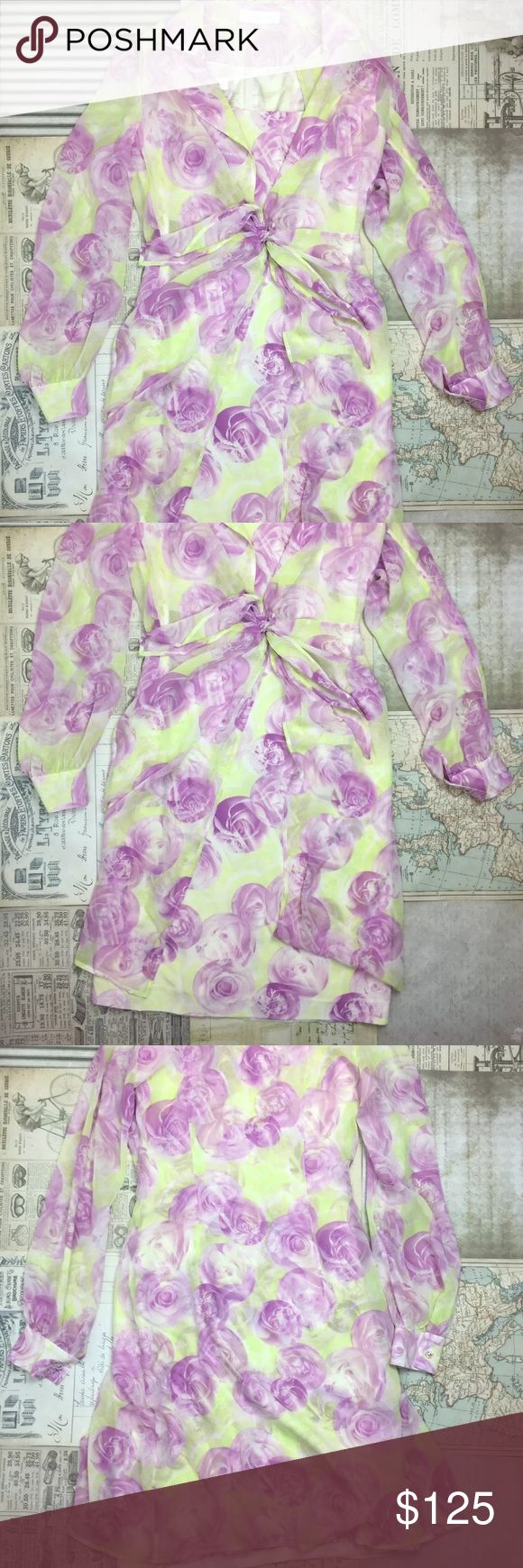 """Escada dress jacket 38 Two Piece Floral silk Sheer Dress is a size 38  Width: 18.5""""  Length: 37""""   Jacket is a size 36  Width: 20""""  Length: 40""""   There aren't any stains or rips Escada Dresses Midi"""