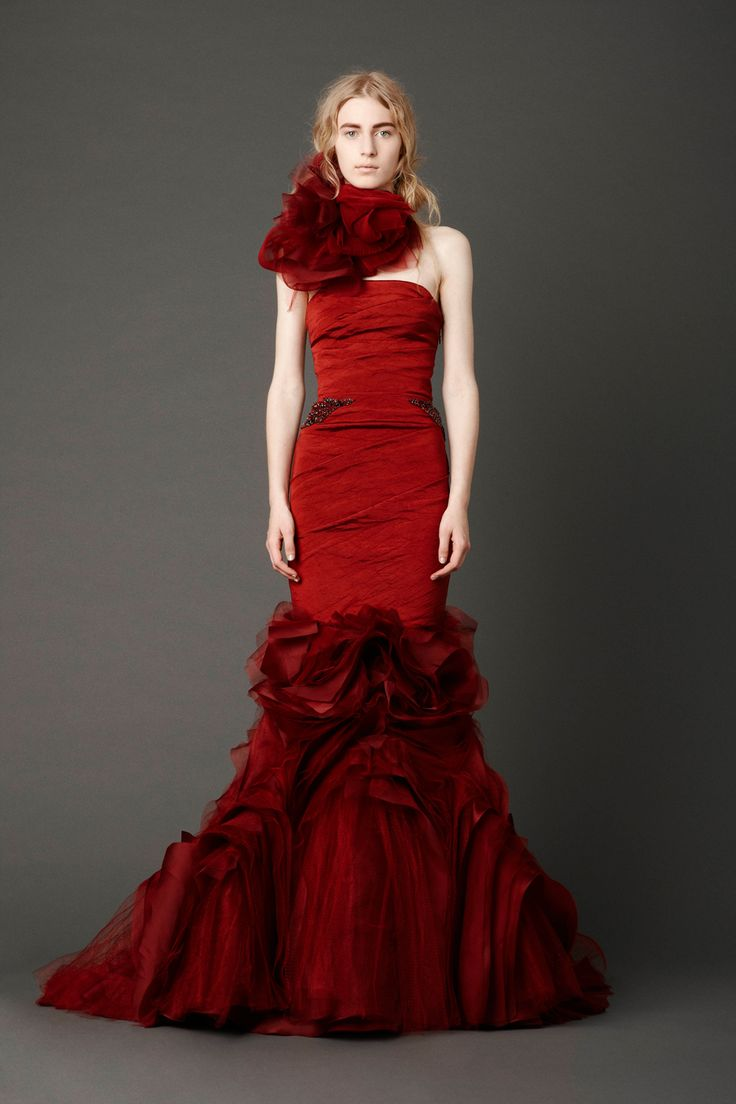 @Vera Wang Crimson strapless mermaid gown with hand-draped bodice and inverted flange skirt with embroidered crystal wheat detail  In love!