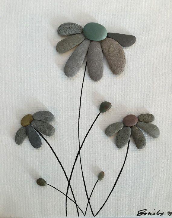 Pebble art flowers floating canvas framed art beach decor