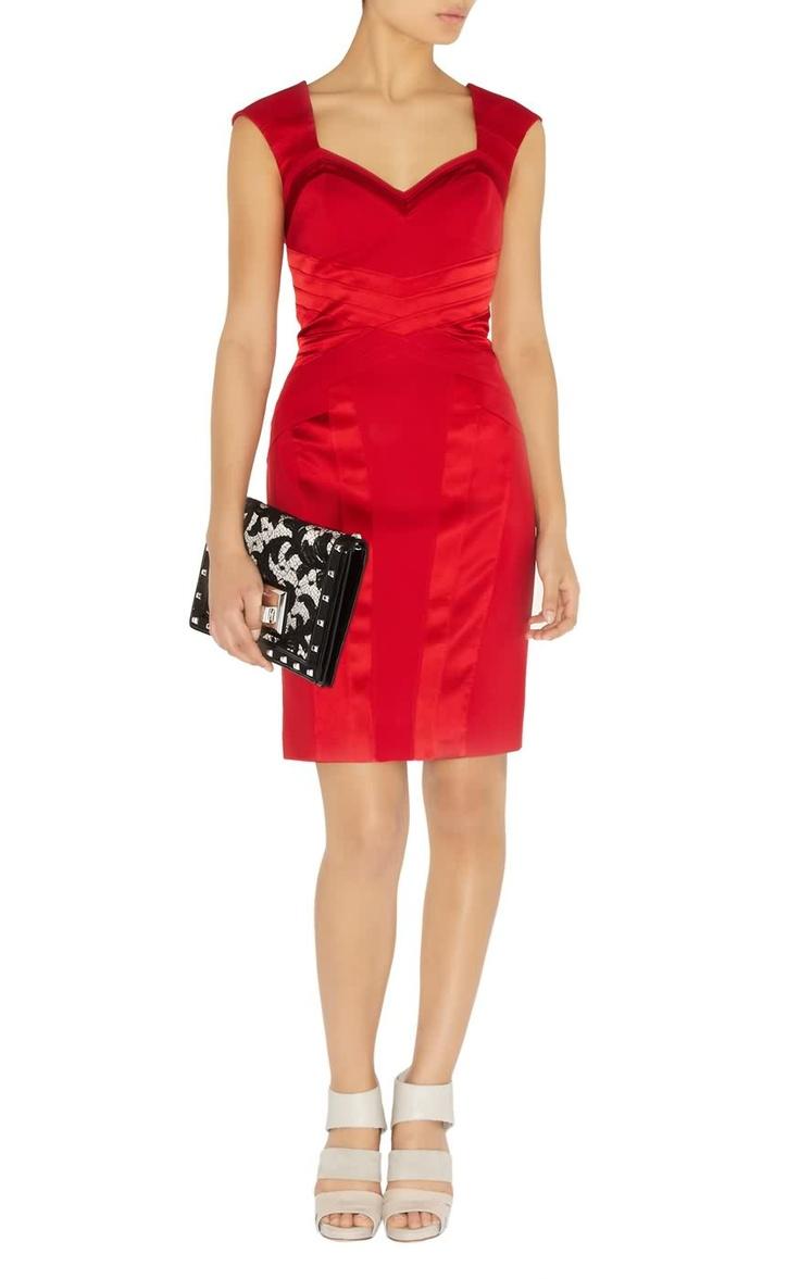 Karen Millen Bodycon Panel Dress Red