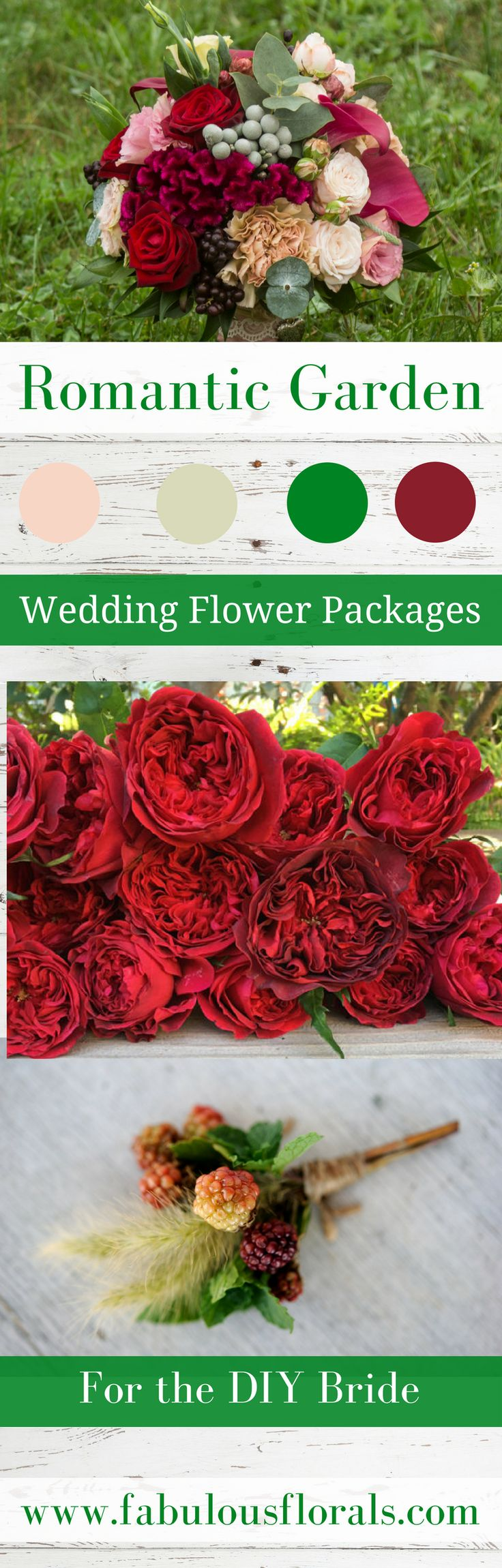 Wedding Trends! Romantic Garden Wedding Packages and color Palette. DIY wedding Flower Packages! Buy Easy Complete DIY bouquet, Boutonniere & Centerpiece Flower packages online!   How to make a wedding bouquet  DIY wedding bouquet tutorials and instructions. #weddingflowerpackages #weddingflowers #weddingtrends