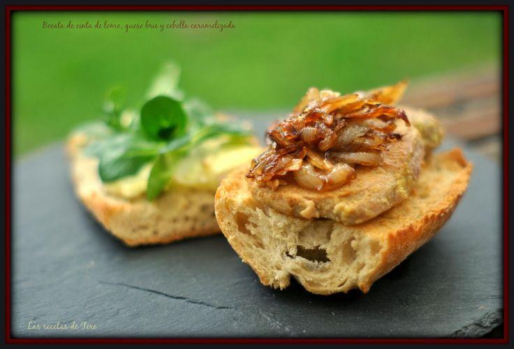 Bocata de cinta de lomo, queso brie y cebolla caramelizada.