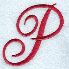 RP Machine Embroidery Monogram Script Letter P