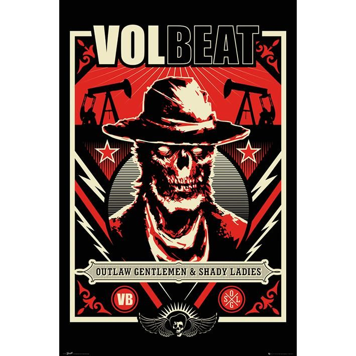 "#Poster verticale ""Outlaw Gentlemen & Shady Ladies"" dei Volbeat. Dimensioni: 91,5 x 61 cm."