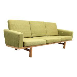 3 seater sofa in oak model GE236/3 designed by Hans Jørgen Wegner and manufactured by Getama, Denmark. Original fabric and original spring cushions.