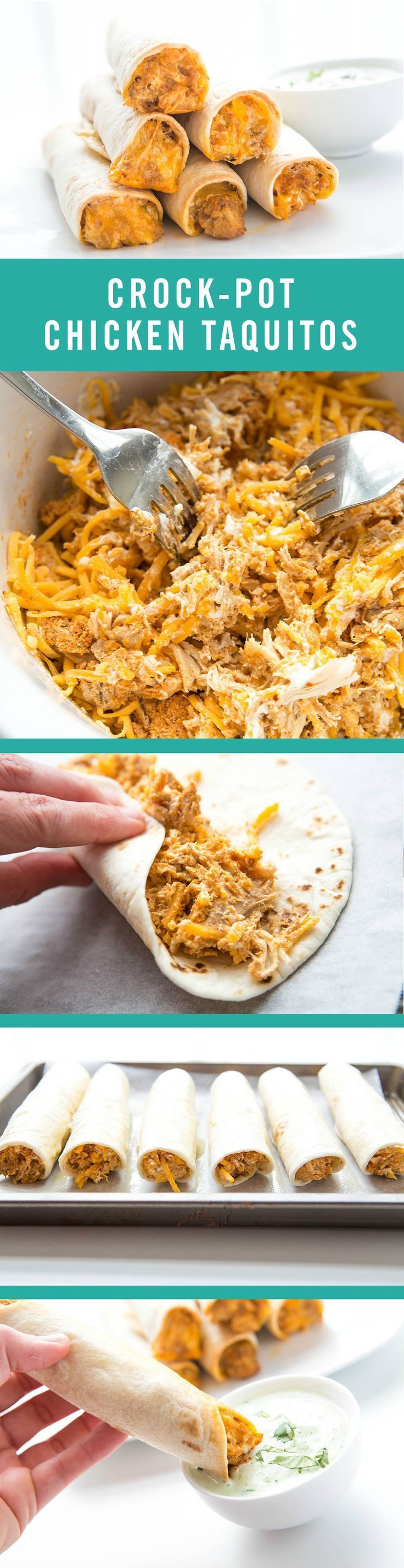 Kid-friendly meets parental appetites with this tasty and simple recipe. These Crock-Pot Chicken Taquitos couldn't be more easy to make. You just need a slow-cooker and five ingredients: cream cheese, taco seasoning, chicken, cheese, and tortillas.