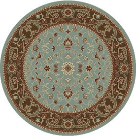 Concord Global Hampton Round Blue Floral Woven Area Rug (Common: 8-ft x 8-ft; Actual: 7.83-ft x 7.83-ft)