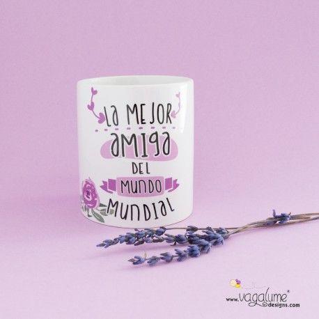 Taza regalo para ella desayuno la mejor amiga del mundo mundial con diseño flores