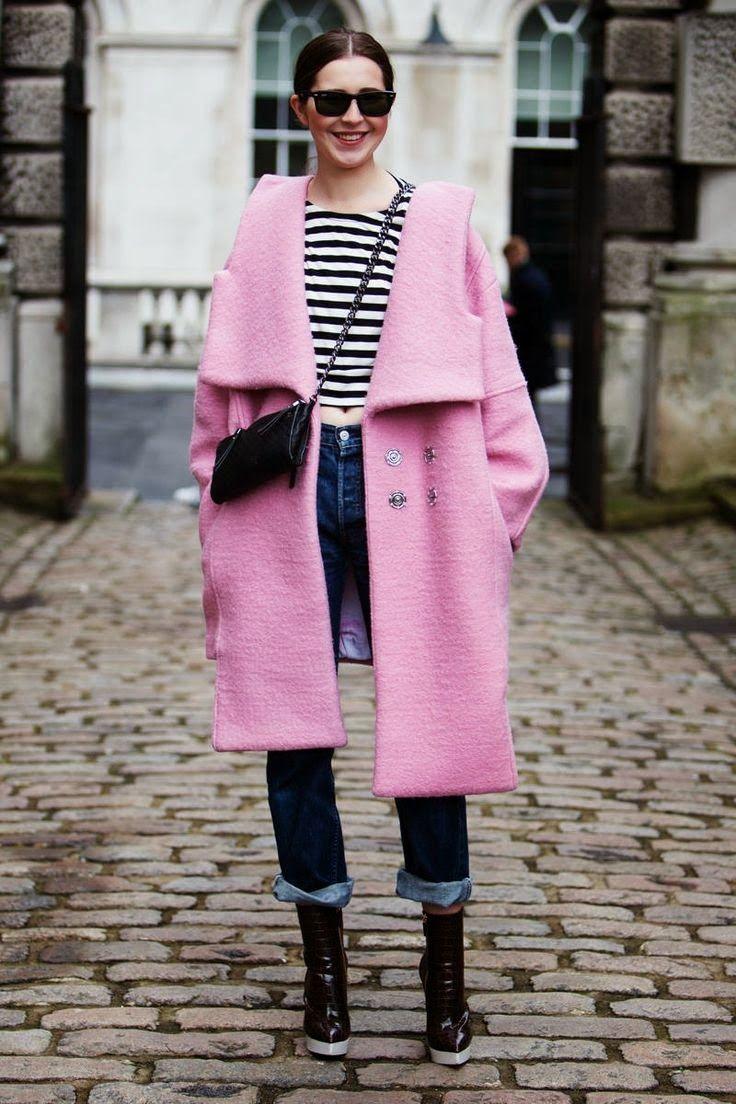 Striped shirt dress, vinyl pants, boots, pink coat