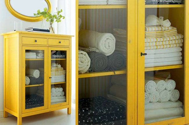 Yellow Hemnes Linen Cabinet Ikea Hack Bathroom Pinterest Cabinets Glass Doors And No Closet