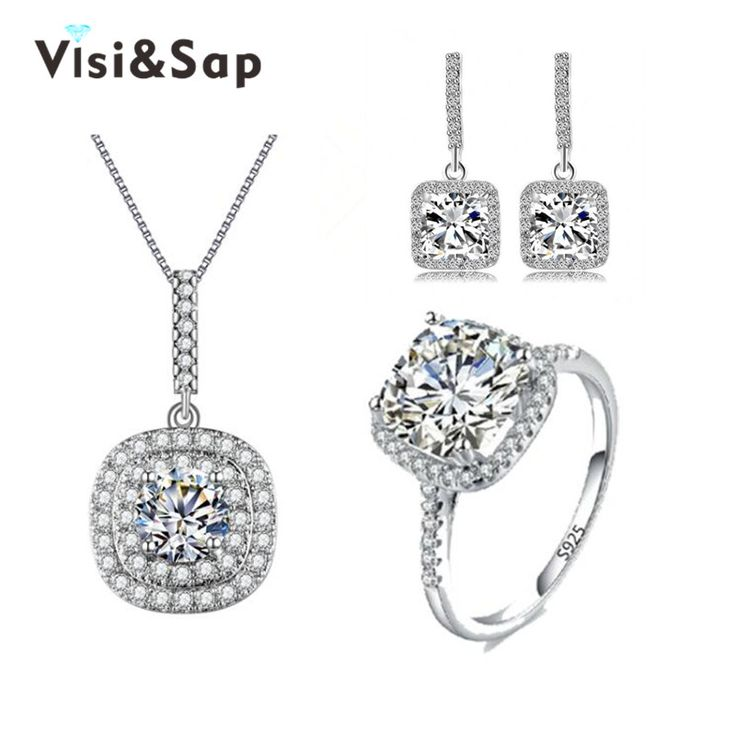 Vintage square shape engagement jewelry sets for girls bride rings necklaces earrings wedding bijoux romantic - free shipping worldwide