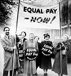 """Equal Pay Act of 1963	 an employee may not be paid at a lesser rate than employees of the opposite se for equal work"""