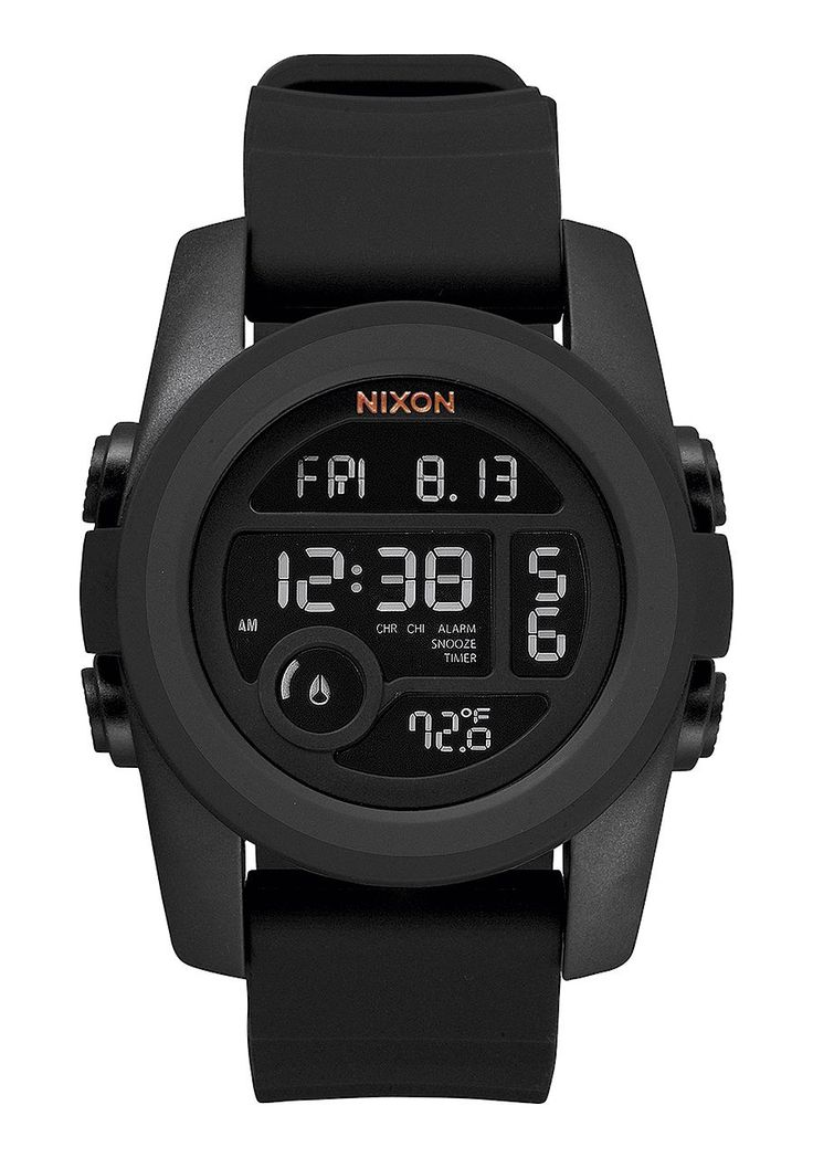 The Unit 40mm All Black Nixon watch  Digital date, time, alarm and thermometer define the oversized, mirrored dial of a multifunction watch paired with a thick strap and encased in ultra-cool polycarbonate for a stylish finish.