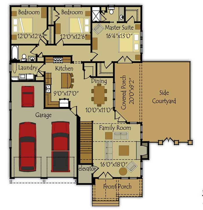 Colored House Floor Plans 141 best house plans images on pinterest | vintage houses, house