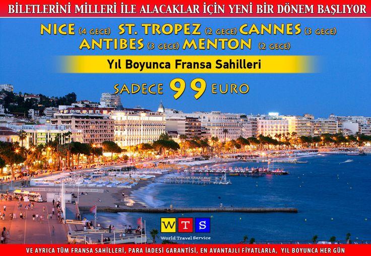 Fransa Sahilleri ve muhteşem plajlar sizi bekliyor. #Nice (4 gece), #StTropez (2 gece), #Cannes (3 gece), #Antibes (3 gece), #Menton (2 gece) 99 €'dan başlayan fiyatlarla üstelik #WTSile yaz tatiline çıkan herkese 1 gece, 10 geceden fazla konaklama yapan herkese 2 gece #KosAdası konaklaması WTS'den...