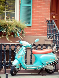 Vespa  I LOVE how this Vespa is color coordinated with the exterior of the home.  It all comes back to Fashion!   PattyOnSite: Turquoise Blue, Turquoise Vespas, Cars, Tiffany Blue, Colors Crushes, Scooters, Things, Turquois Vespas