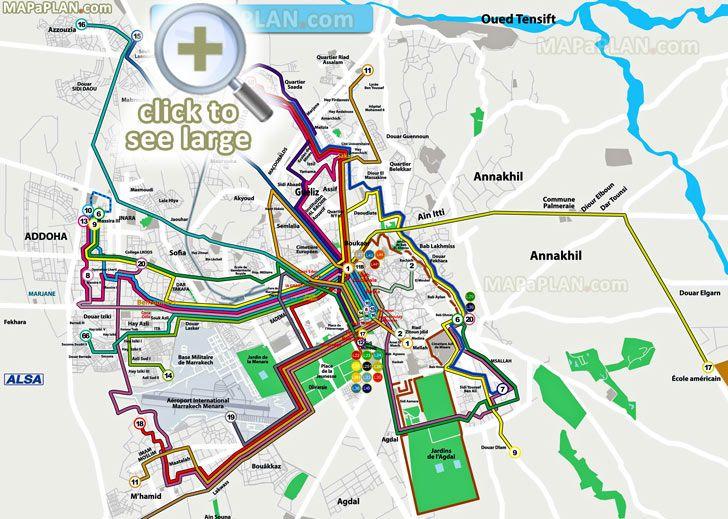 local bus routes lines stops public transport alsa network system menara airport railway Marrakech top tourist attractions map