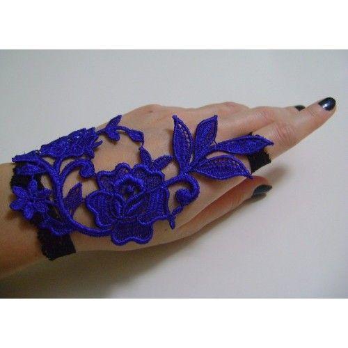 Saks Mavi, Büyük Çiçekli, Güpür Dantel Gece Eldiveni