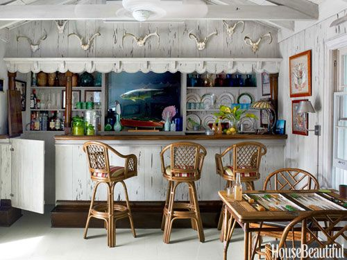 The Bar Is Original; Liza Pulitzer Calhoun Had It Faux Painted To Resemble  Pecky Cypress
