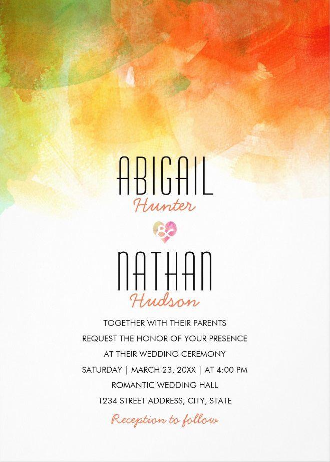 Watercolor wedding invitations - creative modern wedding cards. Unique elegant wedding invitations. Feature creative modern typography. Personalize online! #weddinginvitations