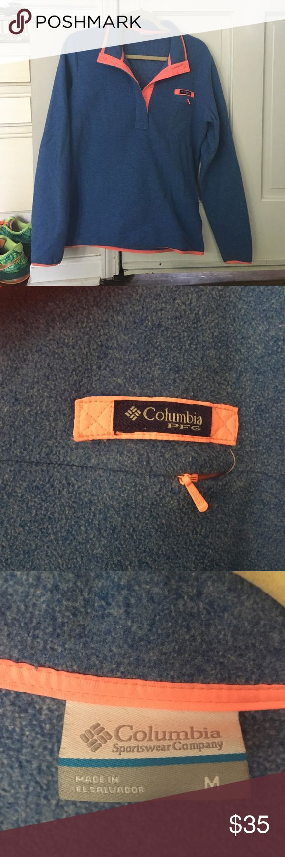Columbia Sportswear Fleece Blue and peach trimmed Columbia button-up fleece. Worn only once or twice. Great for fall weather coming up!! Columbia Sweaters